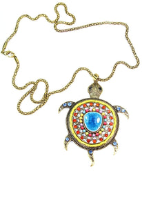 Multi Color Big Turtle Shimmer Pendant Necklace