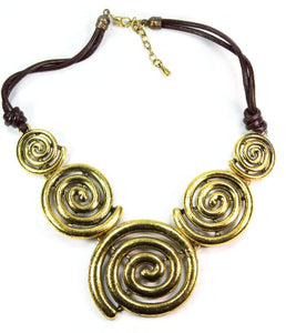 Five Spiral Pendants Statement Necklace