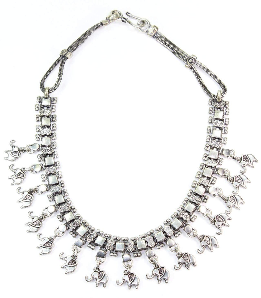 Silver Tone Elephant Charms Tribal Choker Necklace