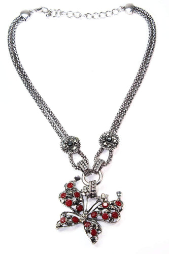 Red Dazzling Butterfly Necklace