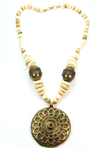 Off White & Beige Sea Side Medallion Necklace