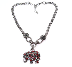 Red Dazzling Elephant Necklace