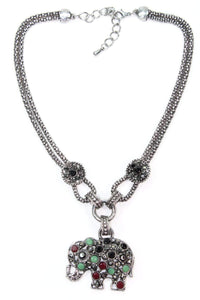 Multi Color Dazzling Elephant Necklace