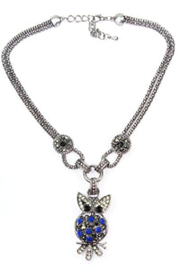 Blue Dazzling Perched Owl Necklace