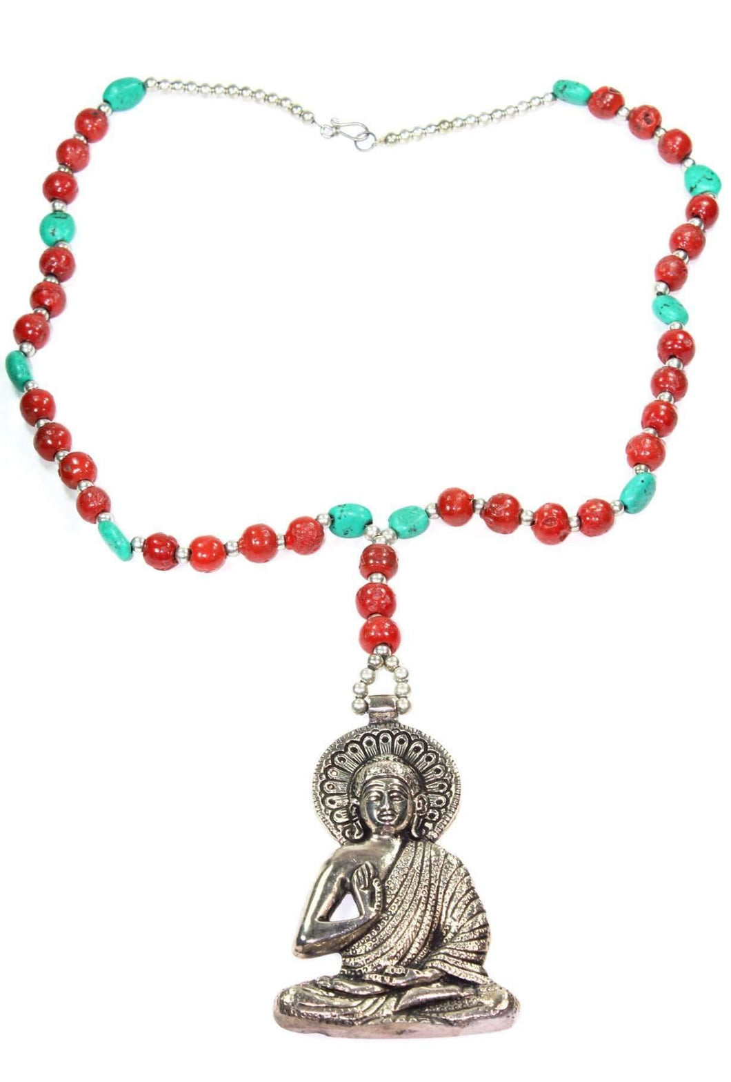 Red & Turquoise Grand Buddha Pendant Necklace