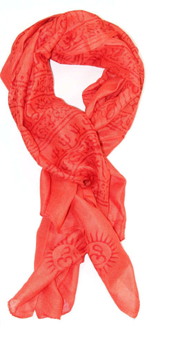 Red-Orange Primordial Om & Asian Symbols Printed Scarf