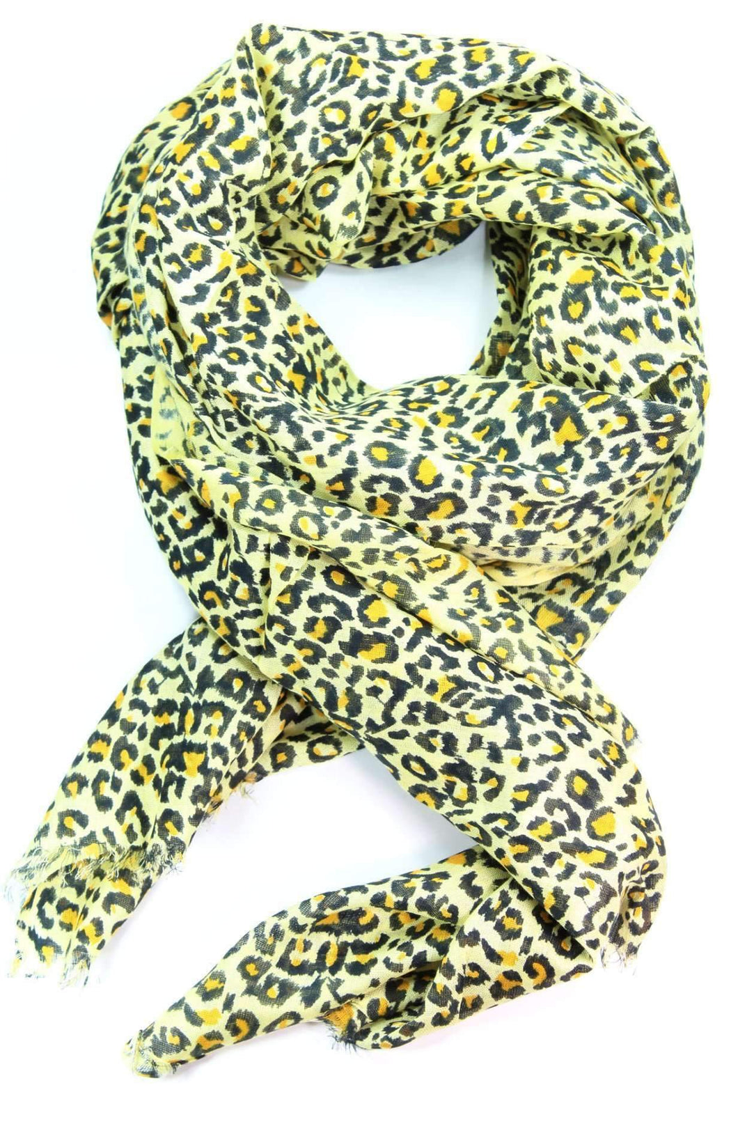 Leopard Print Yellow Scarf