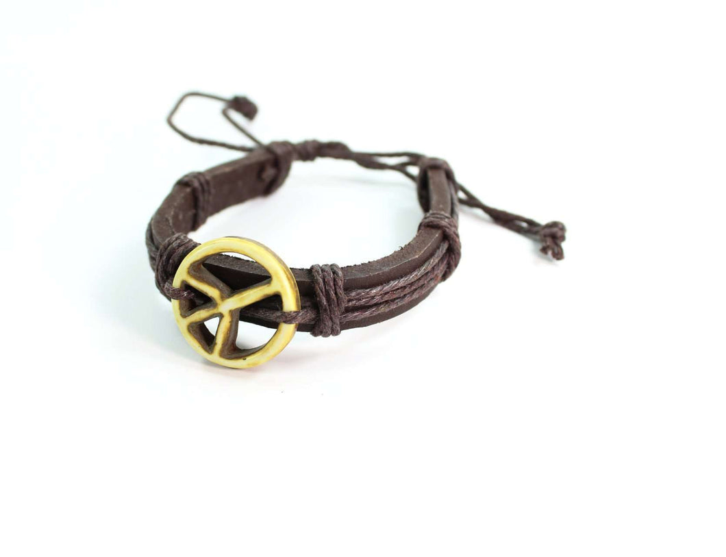 Peace Symbol Leather Bone Bracelet