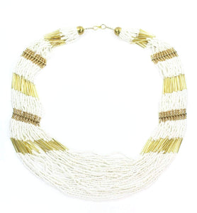 Empress Layered Beads White Necklace