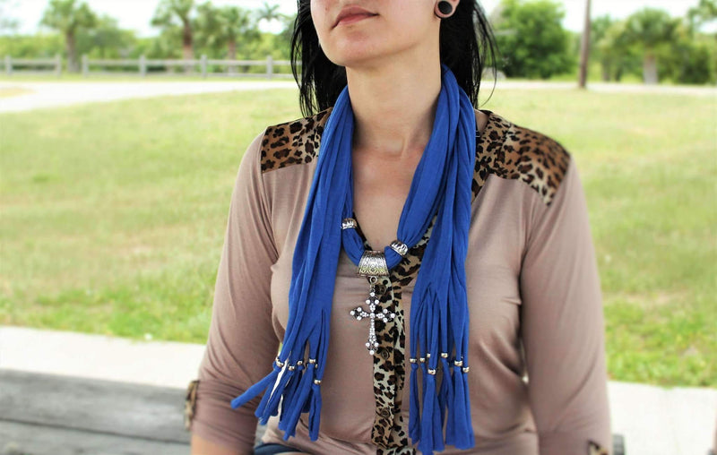 Nautical Blue Cross Pendant Scarf | Wild Lotus