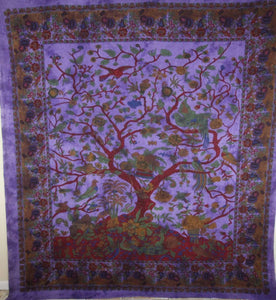 Violet Tree of Life Birds Tapestry | Wild Lotus