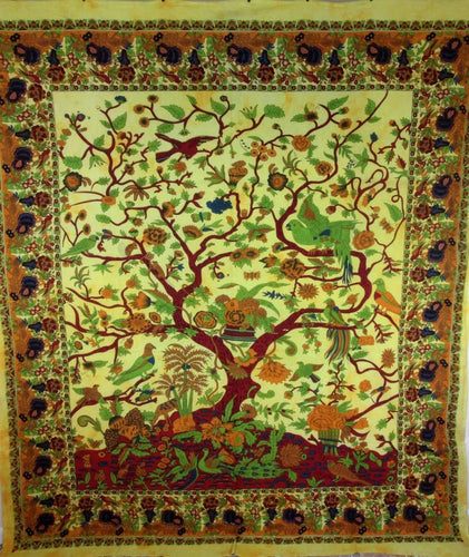 Yellow Tree of Life Birds Tapestry