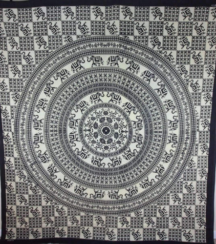 Checkerboard Floral & Elephant Mandala Tapestry