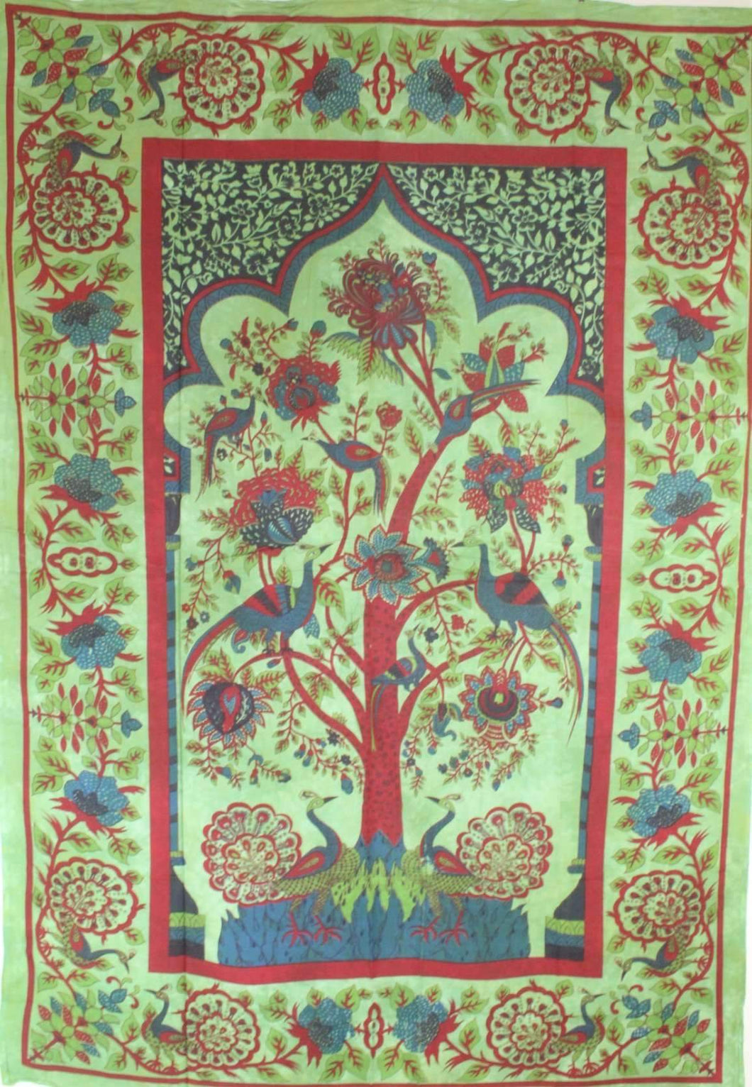 Green Tree of Life Peacock Tapestry