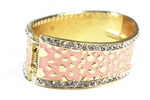 Light Pink Leopard Design Hinged Cuff Bangle