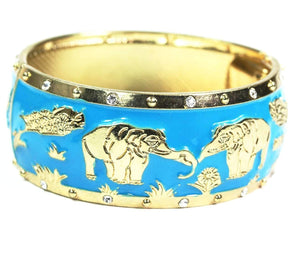 Blue Grazing Elephants Cuff Bangle