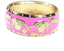 Load image into Gallery viewer, Pink Grazing Elephants Cuff Bangle