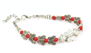 Red Butterflies And Four Clover Charms Bracelet