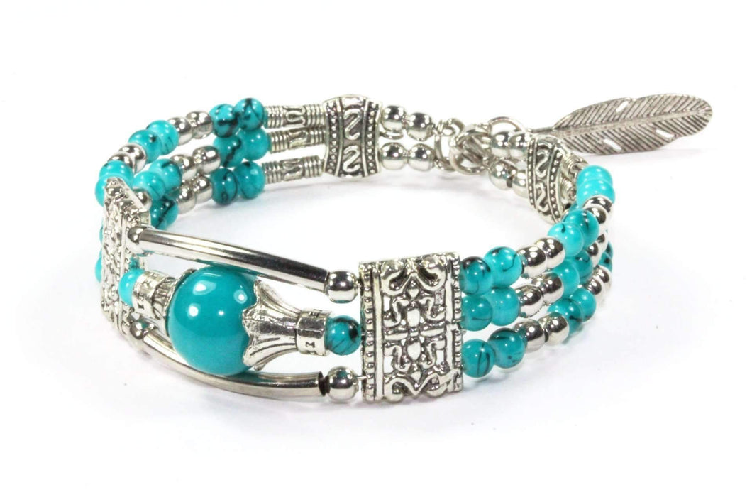 Turquoise Feather Charm And Beads Bracelet
