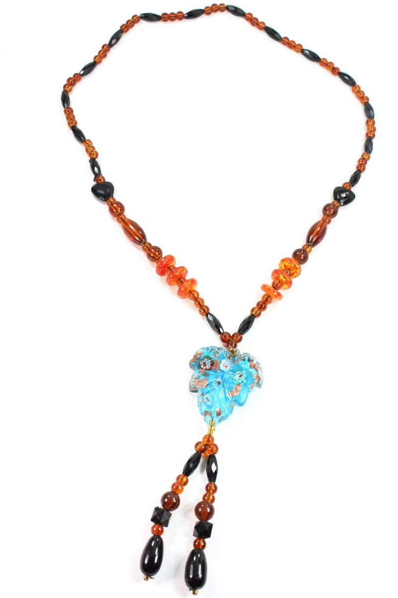 Blue Leaf Pendant Gypsy Style Shimmer Necklace