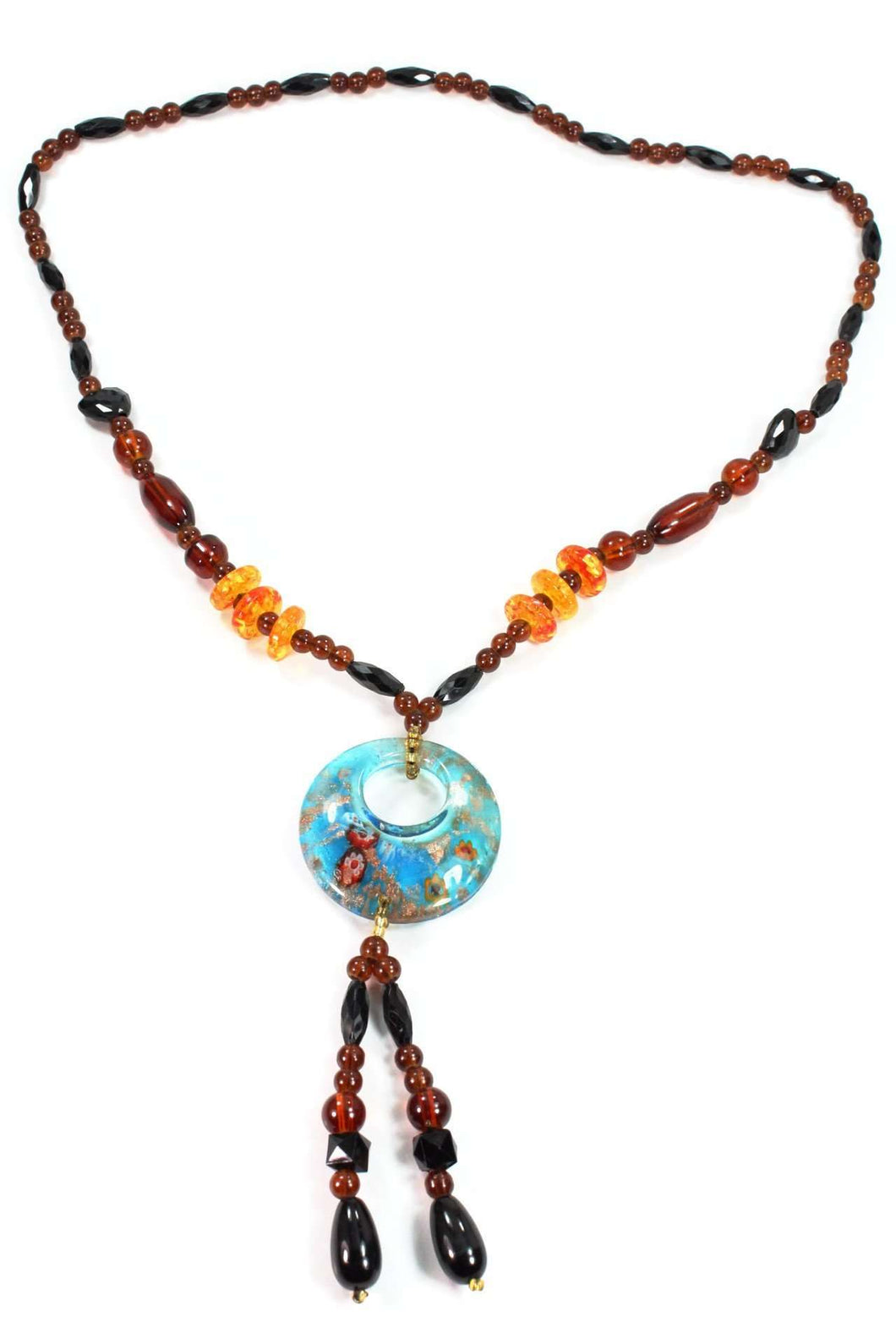 Colorful Glass Round Pendant Gypsy Style Shimmer Necklace