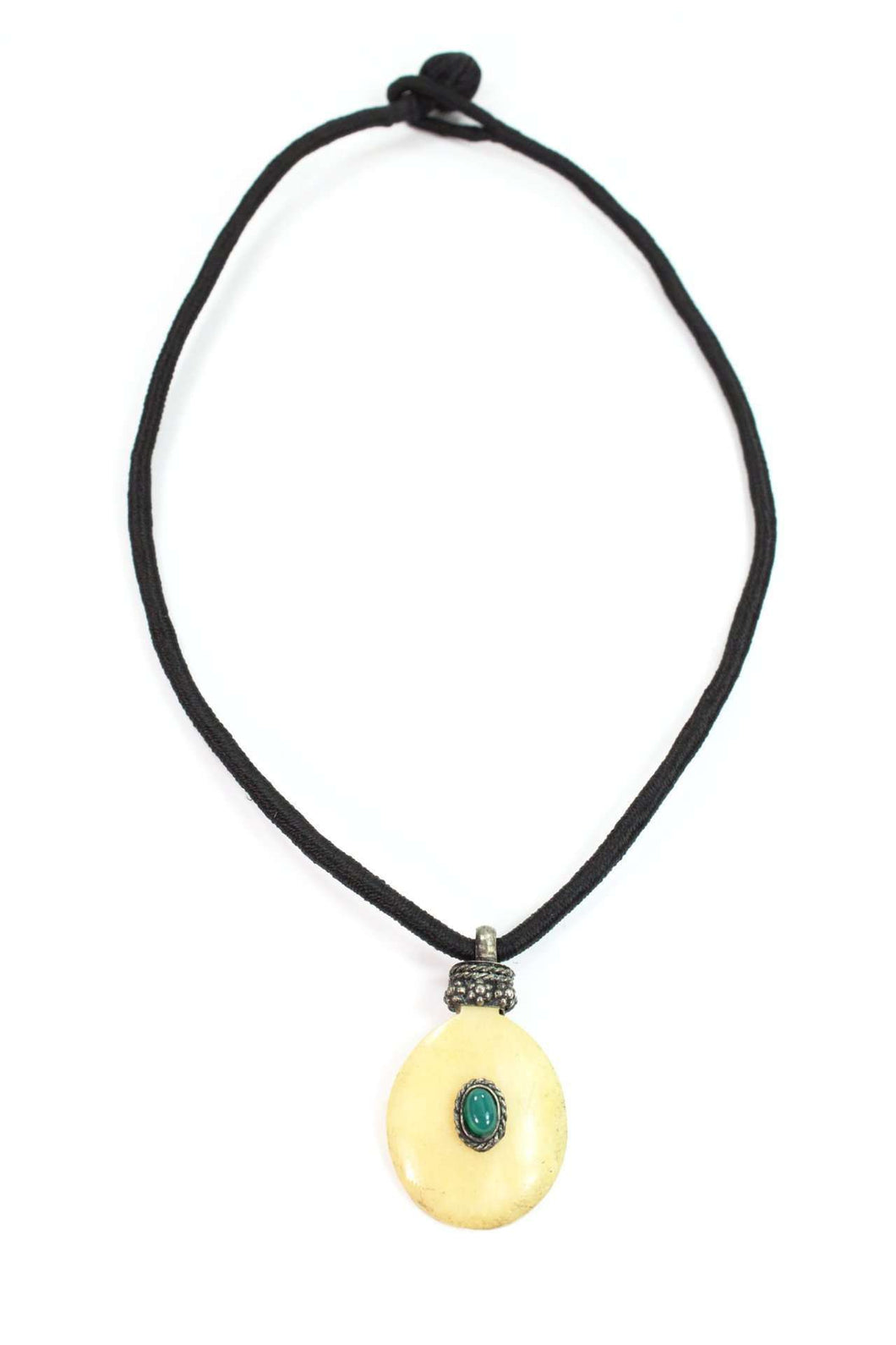 Green Oval Bone & Stone Tribal Pendant Necklace