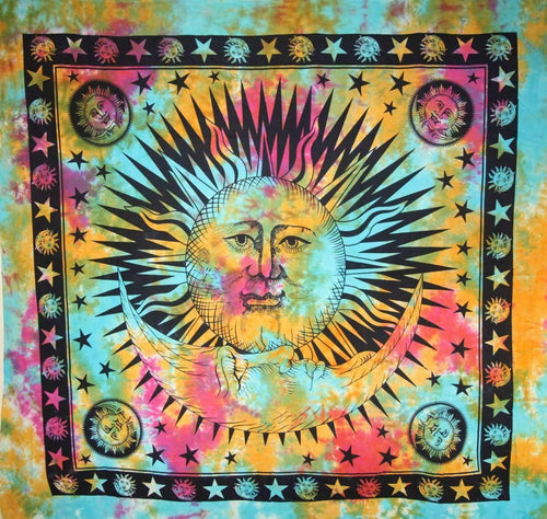 Divine Sun & Crescent Moon Tapestry