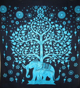 Turquoise Majestic Elephant & Tree Of Life Tapestry