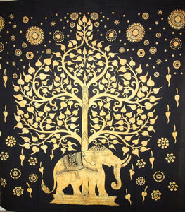 Yellow Majestic Elephant & Tree Of Life Tapestry