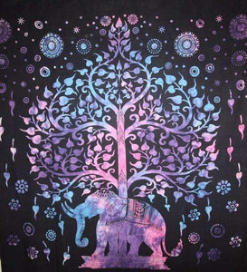 Blue/Purple Majestic Elephant and Tree of Life Tie Dye Tapestry