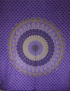 Purple Peacock Mandala Tapestry