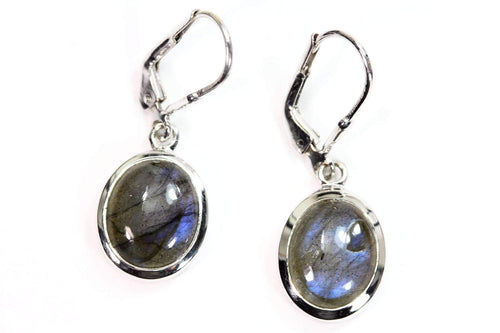 Sterling Silver Labradorite Oval Leverback Earrings