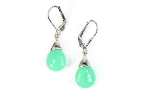 Green Chalcedony Teardrop Earrings
