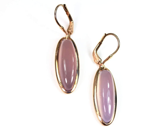 Sterling Silver with 14k Rose Gold Finish Lavender Jade Dangle Earrings