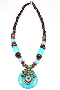 Turquoise Tribal Art Deco Necklace