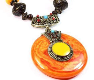 Sunset Amber Tribal Art Deco Necklace