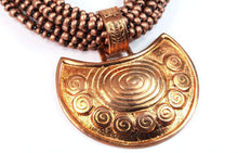 Load image into Gallery viewer, Crescent Moon Spiral Statement Necklace