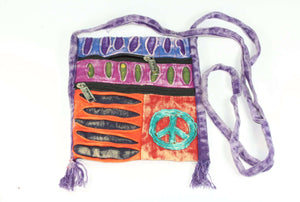 Stone Wash Peace Crossbody Patchwork Passport Bag by Wild Lotus