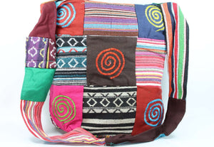 Patchwork Multi Spiral Durrie Jhola Bag Shopping Tote | Wild Lotus