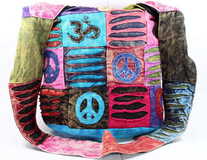 Cotton Stonewashed Om, Peace and Spiral Bag