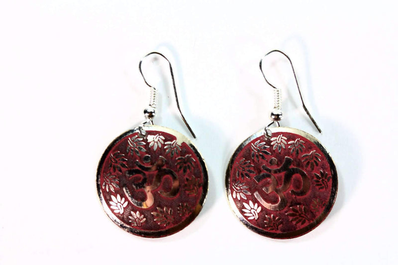 Terracotta Lotus Petals And Om Yoga Earrings