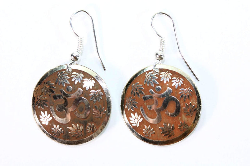 Tan Lotus Petals And Om Yoga Earrings