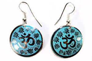 Turquoise Lotus Petals And Om Yoga Earrings