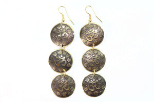 Gold Tone Three Tier Om Earrings with Lotus Petals