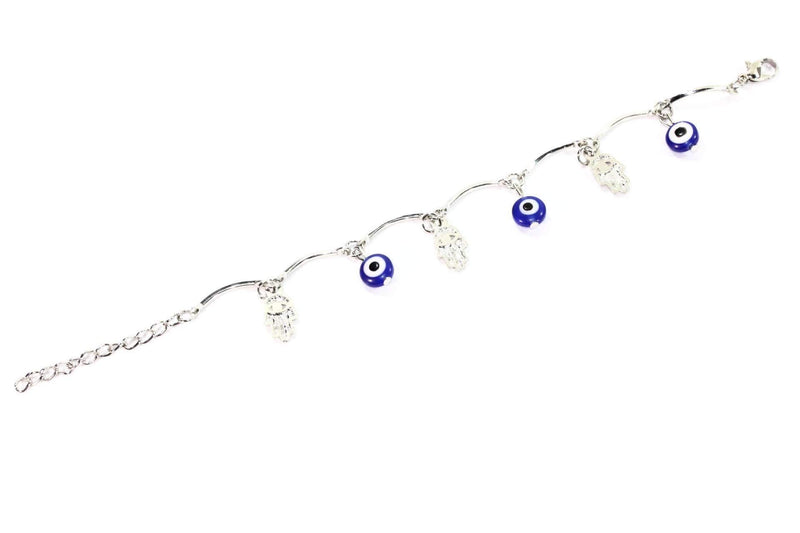 Blue Hamsa Hand & Evil Eye Protection Bracelet