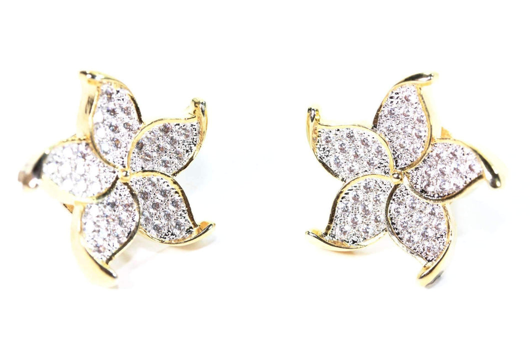 Gold Tone Five Petal Flower Stud Earrings