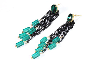 Blue Green Chain & Beads Dangle Earrings