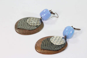 Blue Purple Three Disc & Stone Earrings