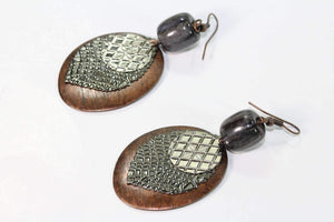 Black Charcoal Grey Three Disc & Stone Earrings