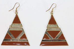 Brown Egyptian Style Enamel Earrings